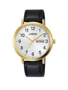 lorus-lorus-silver-sunray-and-gold-detail-daydate-dial-black-leather-strap-mens-watch