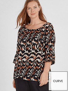 83dc61f6a8094 Evans Abstract Zebra Gypsy Bardot Top