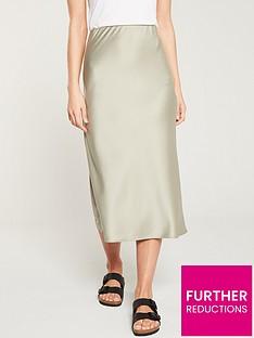 a07518867481 Warehouse Satin Bias Cut Midi Skirt - Khaki