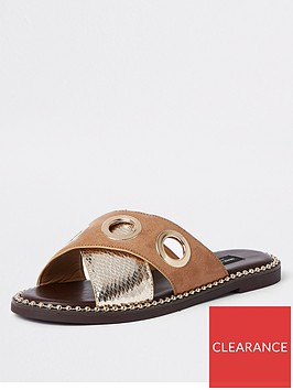 river-island-river-island-wide-fit-eyelet-cross-strap-sandal-gold
