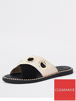 river-island-river-island-wide-fit-eyelet-cross-strap-sandal-black