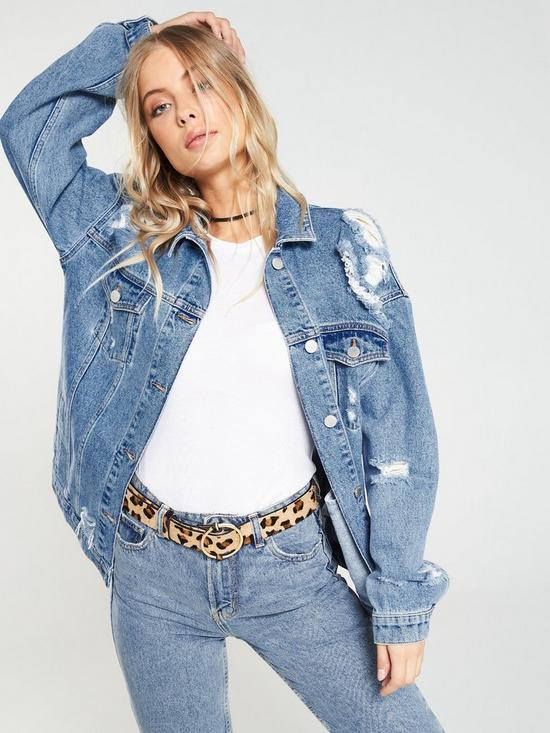 0b79fea7749 V by Very Distressed Longline Denim Jacket - Mid Wash | very.co.uk