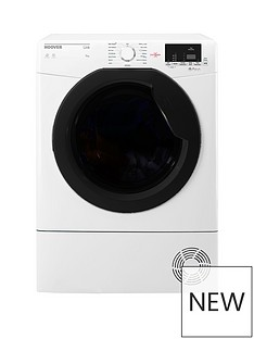 Hoover LinkHLC9DKE9kgLoadAquavision Sensor Condenser Tumble Dryerwith One Touch - White/Black