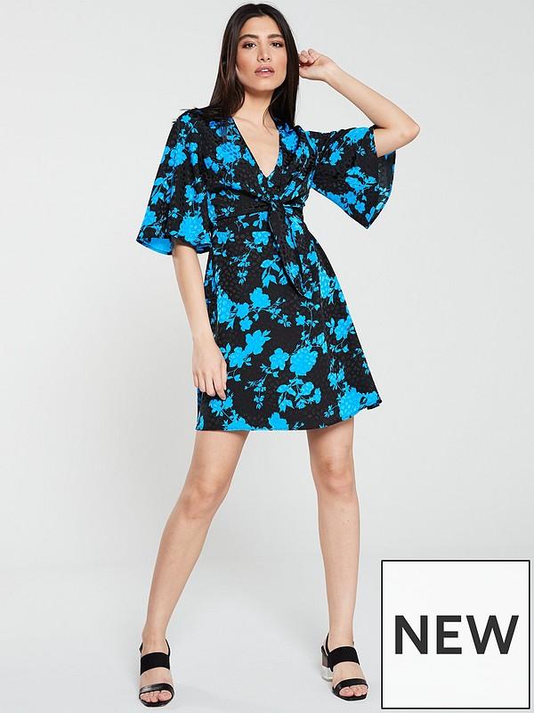 b2dea086a22c00 V by Very Jacquard Tie Front Kimono Sleeve Tea Dress - Floral | very ...