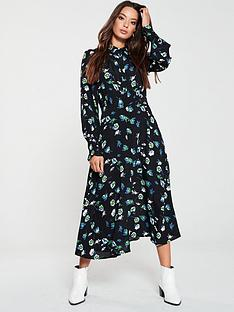 v-by-very-shirred-waist-midi-shirt-dress-blue-floral