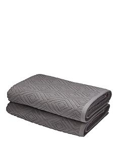 catherine-lansfield-linear-diamond-towel-range-grey