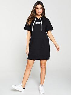 dkny-sport-logo-patch-short-sleeve-dress-black