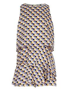 6bf3c68c61 River Island Girls geo print skort playsuit - blue