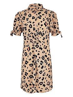 2f8b2881fd1376 River Island Girls leopard print knot shirt dress - brown