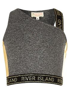 afc07130ce0f66 River Island Girls RI Active One Shoulder Crop Top - Grey