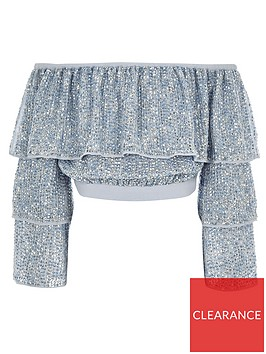 river-island-girls-sequin-embellished-bardot-top-blue