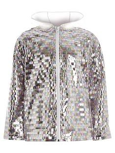 c35c05c4989c4 River Island Girls sequin embellished rain mac - silver