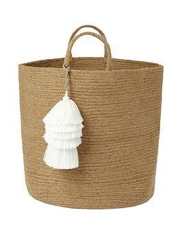 monsoon-storage-basket-with-white-tassels