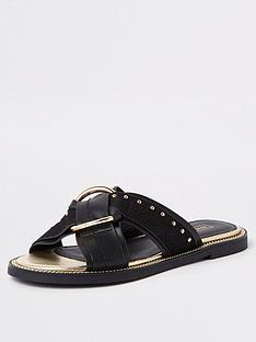 27cac848298 River Island River Island Cross Front Slip On Sandal - Black