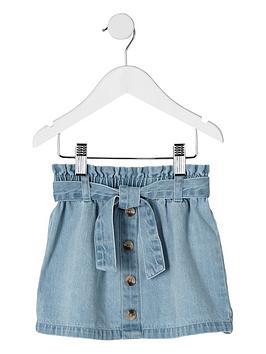 river-island-mini-mini-girls-paperbag-denim-skirt-blue