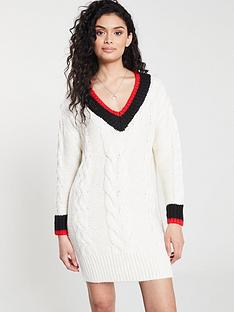 197fb8e30b River Island River Island Stripe Detail Cable Knit Jumper Dress- Cream
