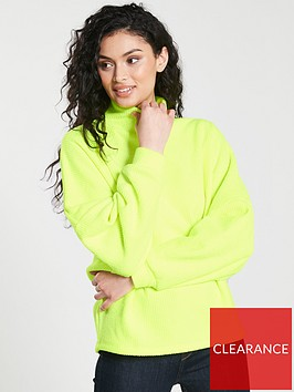 river-island-river-island-ribbed-high-neck-batwing-sweat--yellow