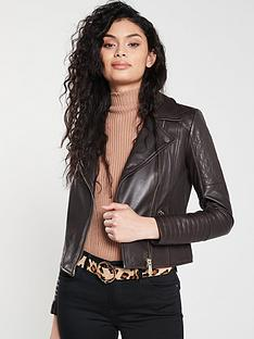 5451e6ef94f3 River Island River Island Leather Quilted Biker Jacket - Chocolate
