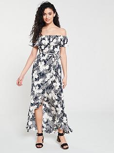 ad62d74001b3 River Island River Island Floral Print Bardot Maxi Dress - Navy
