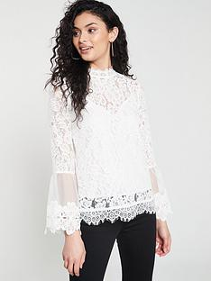 5e12e9502fc566 River Island River Island Lace High Neck Long Sleeve Top- White