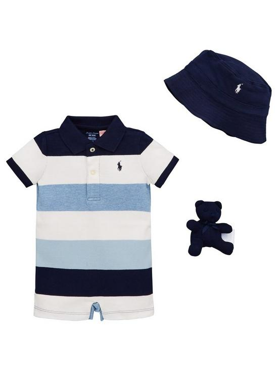 df280a52d Ralph Lauren Baby Boys Romper   Hat Gift Set - Blue