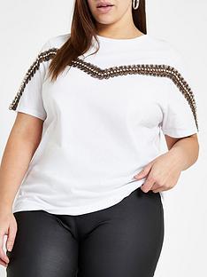 490519e7d4d RI Plus Ri Plus Leopard Trim Detail T-shirt- White