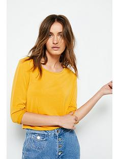 v-by-very-three-quarter-sleeve-cupro-tee-mustard