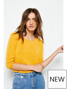 cba56a4571a9 V by Very Three Quarter Sleeve Cupro Tee - Mustard