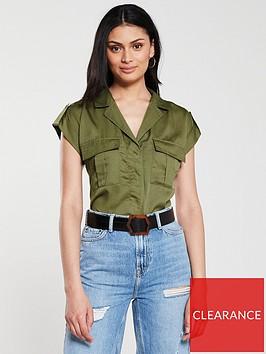 v-by-very-short-sleeve-utility-shirt-khaki