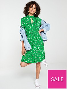 v-by-very-high-neck-shirred-detail-dress-green-floral