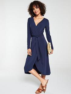 v-by-very-midi-wrap-three-quarter-sleeve-dress-navy