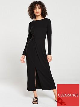 v-by-very-midaxi-knot-detail-ribbed-dress-black