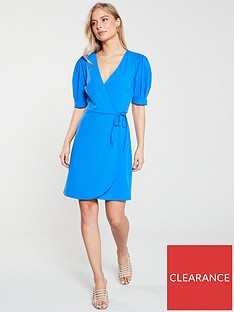 v-by-very-jersey-wrap-puff-sleeve-dress-blue