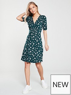 adf0c082fe8f V by Very Printed Shirred Jersey Dress - Green/Floral