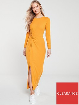 v-by-very-midaxi-knot-detail-ribbed-dress-mustard