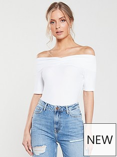 62232420702d87 V by Very Ribbed Ruched Front Bardot Top - White