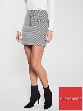 v-by-very-gingham-front-zip-skirt-black-white