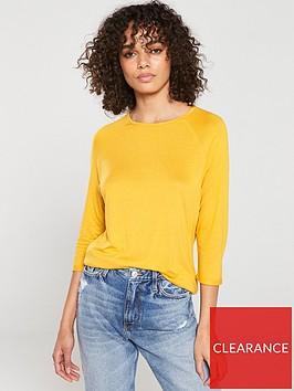 v-by-very-the-essential-three-quarter-sleeved-raglan-top-mustard