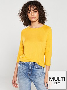 v-by-very-the-three-quarter-sleeved-raglan-tee-mustard