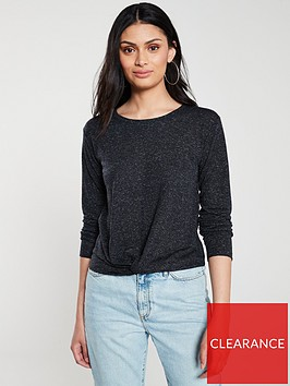 v-by-very-knot-front-long-sleeve-top-black