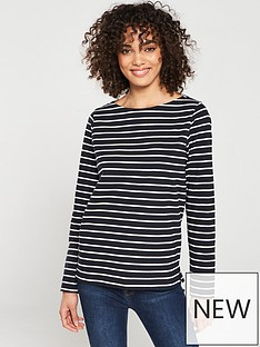 be3f0c2064c5 V by Very Stripe Cotton Long Sleeve Top - Black White