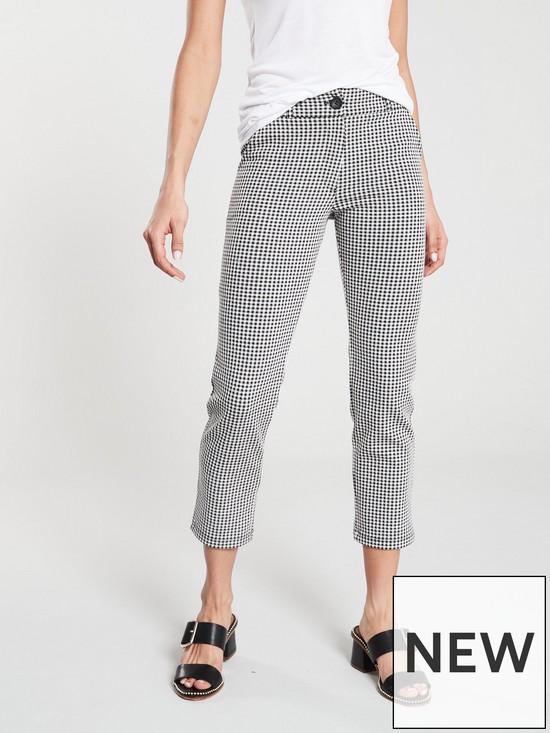 9fa96824130014 V by Very Gingham Slim Leg Pant - Black White | very.co.uk
