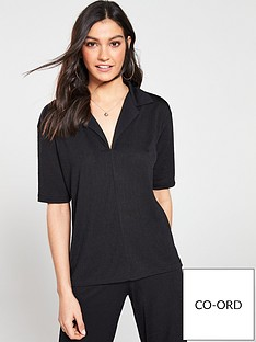v-by-very-v-neck-collar-co-ord-top-black