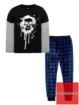 v-by-very-boys-foil-skull-pyjama-set