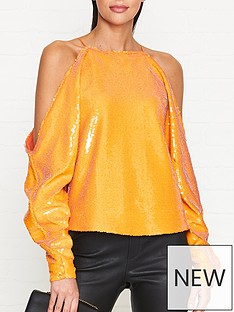 outline-boston-sequin-cold-shoulder-top-orange
