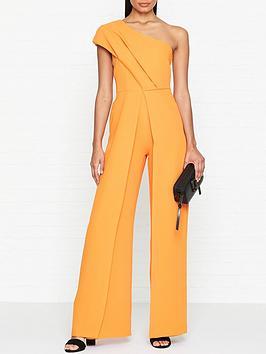 outline-one-shoulder-split-leg-fitted-jumpsuit-orange