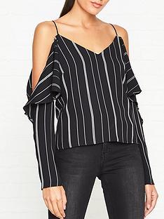 outline-pin-stripe-cold-shoulder-blouse-blackwhite