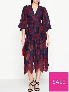 ukulele-lace-kimono-sleeve-dress-navyred