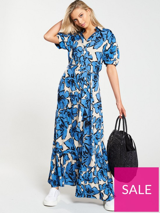 61089326023 V by Very FLORAL PUFF SLEEVE MIDI DRESS | very.co.uk
