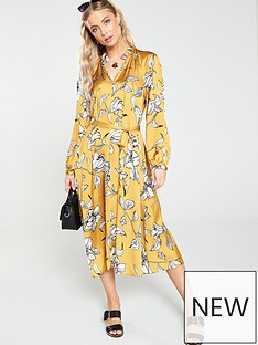 da591af1b09 V by Very Floral Printed Midi Dress - Yellow